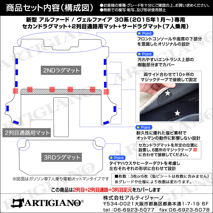 TOYOTA(トヨタ) アルファード 30系/ヴェルファイア 30系 ラグマット+ウォークスルーマットセット